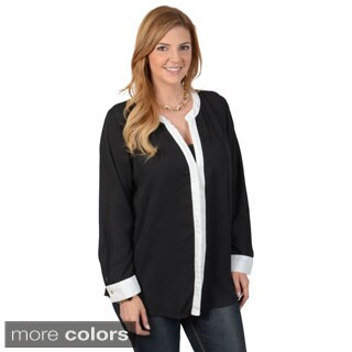 Journee Collection Women's Contemporary Plus Long Sleeve Button-down Chiffon Top