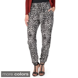 Hailey Jeans Co. Junior's Leopard Print Elastic Waist Pants