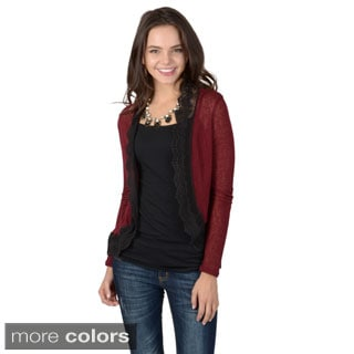 Journee Collection Women's Crochet Lace Hem Detail Lightweight Cardigan