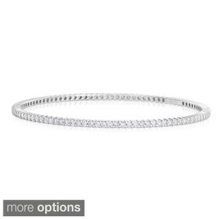 Eloquence 14k White Gold 3ct TWD Eternity Diamond Bangle Bracelet (H-I, I1-I2)