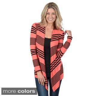 Hailey Jeans Co. Junior's Striped Open Front Fitted Long Sleeve Cardigan