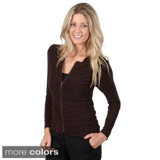 Timeless Comfort by Journee Women's Long Sleeve Ruched Comfort Zip-up Jacket