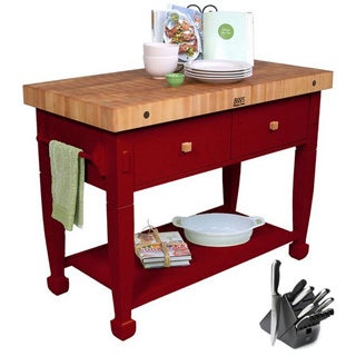 John Boos Barn Red Jasmine Butcher Block Table with Bonus 13-piece Henckels Knife Set