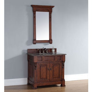 James Martin Furniture Brookfield Warm Cherry Single Vanity with Marble Top