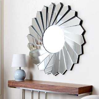 Abbyson Living Deanna Round Floral Wall Mirror