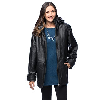 Wilda Women's 'Vickie' Black Leather Coat