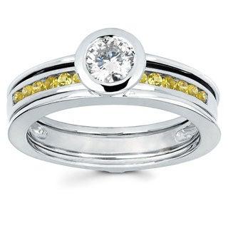 Love Lock 14k 1/2ct TDW Diamond and Yellow Sapphire Bridal Set (H-I, I1-I2)