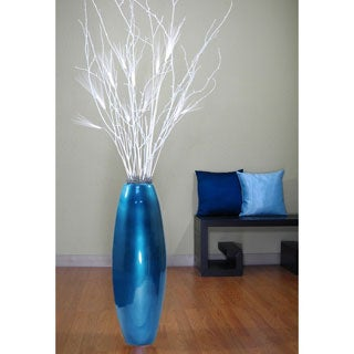 28-inch Blue Lacquer Cylinder Vase and White Birch Branches