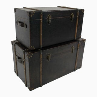 International Caravan Vintage Antique Faux Leather Decorative Trunks (Set of 2)