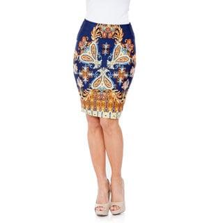 White Mark Women's 'Pretty & Proper' Navy Versailles Pencil Skirt