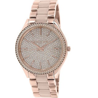 Michael Kors Women's MK4288 Slim Runway Pave-Embellished Stainless Steel Watch