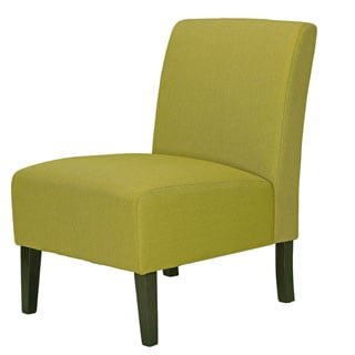 Cortesi Home Chicco Citron Armless Accent Chair in Linen, Green