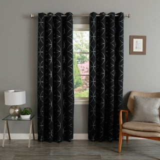 Aurora Home Linked Circle 84-inch Foil Printed Blackout Curtain Panel Pair