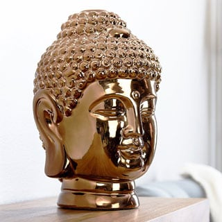 ABBYSON LIVING Ceramic Gold Chrome Buddha Head Statue