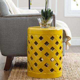 ABBYSON LIVING Capiz Yellow Ceramic Garden Stool