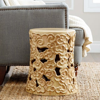 ABBYSON LIVING Osla Antique Beige Ceramic Garden Stool