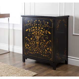 Abbyson Living Antique Shanxi Hand-painted Black Side Cabinet