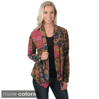 Hailey Jeans Co. Juniors Printed Open-front Silky Cardigan