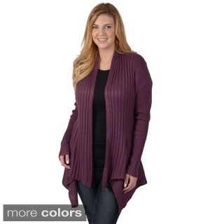 Timeless Comfort by Journee Women's Plus Size Ribbed Long Sleeve Open Front Cardigan