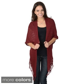Hailey Jeans Co. Junior's Fringed Open Front Crochet Cardigan