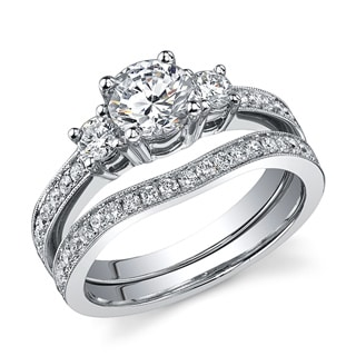 18k Gold 1 2/5ct TDW Certified 3-stone Diamond Bridal Set (H-I, SI3)