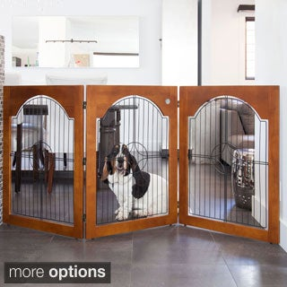 Majestic Pet 3-panel Solid Wood/ Wire Free-standing Pet Gate