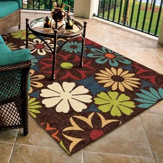"Promise Collection Hakaku Blue Olefin Indoor/Outdoor Area Rug (5'2"" x 7'6"")"