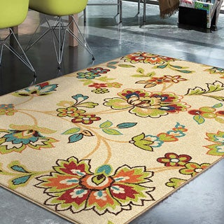 "Indoor/ Outdoor Promise Collection Wakeley White Olefin Indoor/Outdoor Area Rug (5'2"" x 7'6"")"