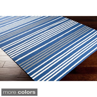 Hand-woven Auch Flatweave Striped Wool Rug (2' x 3')