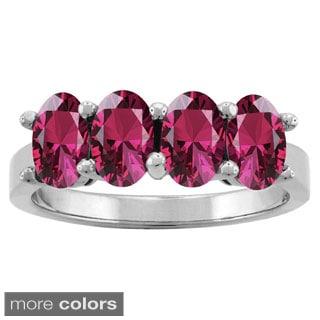 10k White Gold Designer Oval-cut Gemstone Birthstone Ring