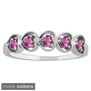 10k White Gold Heart-cut Gemstone Designer Birthstone Ring
