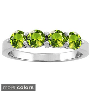 10k White Gold 4 Round-cut 4mm Birthstone Ring