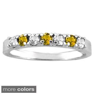10k White Gold 7-stone Birthstone Ring