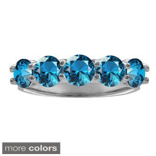 10k White Gold Five-stone Round-cut Birthstone Ring