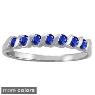 10k White Gold 7-stone S-shaped Birthstone Ring