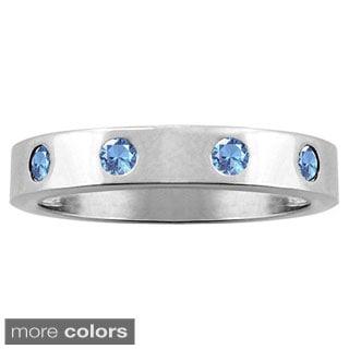 10k White Gold 4-Stone Designer Inset Birthstone Ring