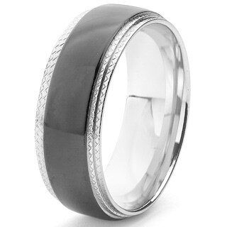 Men's Black-plated Two-tone Stainless Steel Comfort Fit Band Ring (8 mm)