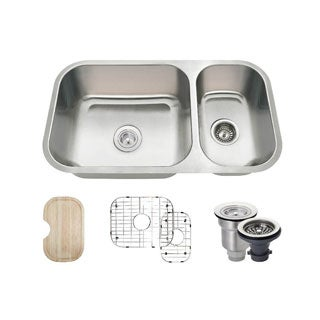 MR Direct 3218B Kitchen Ensemble Stainless Steel Offset Double Bowl Sink