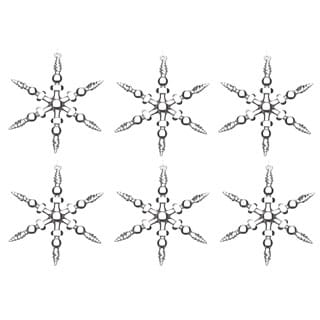 Sage & Co 5-inch Glass Snowflake Christmas Ornament (Pack of 6)