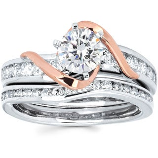14k Two-tone Gold 1 1/2ct TDW Solitaire Diamond Bridal Set (I-J, I1-I2)
