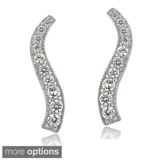 ICZ Stonez Silver Cubic Zirconia Journey Drop Earrings