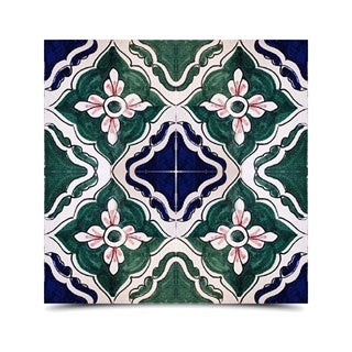 Pack of 8 Asfi Flower Hand-painted and Handmade 6-inch x 6-inch Floor and Wall Tile (Morocco)