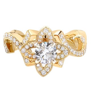 Annello 14k Yellow Gold 1ct TDW Round-cut Floral Diamond Engagement Ring (G-H, I1-I2)