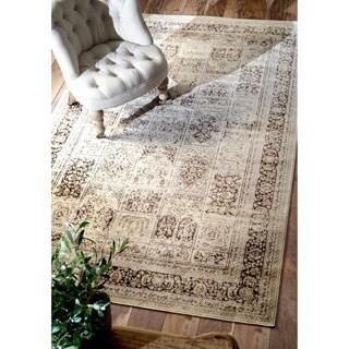 nuLOOM Oriental Vintage Viscose Modern Panel Brown Rug (7'8 x 9'6)