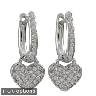 Sterling Silver Pave Cubic Zirconia Heart Drop Earrings