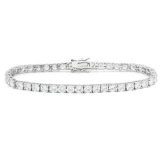 Gioelli Sterling Silver 10.5 TCW Round-cut Cubic Zirconia Tennis Bracelet