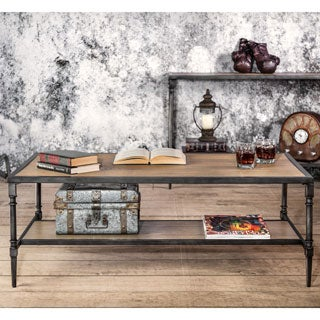 Furniture of America Loren Natural Industrial Coffee Table