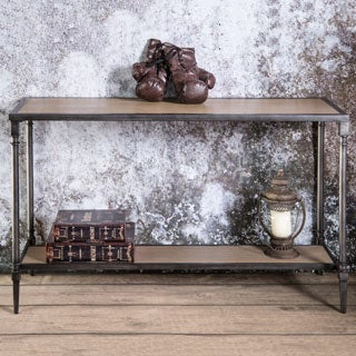 Furniture of America Loren Natural Industrial Sofa Table