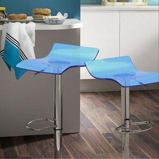 Adeco Blue Ghost Acrylic Adjustable Hydraulic Barstool with Chrome Pedestal Base (Set of 2)