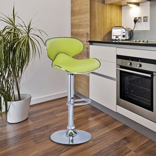 Adeco Lemon Green Faux Leather, Curved Back, Chrome Base, Adjustable Barstools (Set of 2)